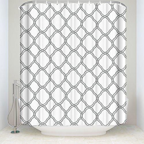 (Lovingin Max Studio Home Cotton Shower Curtain Moroccan Tile Quatrefoil Gray and White Lattice 48x72inch)