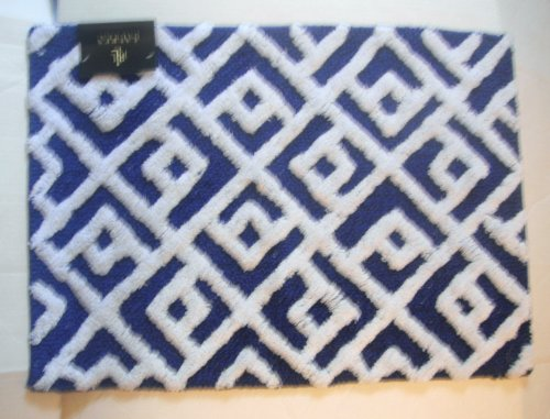 Great Lauren Ralph Lauren Bath Rug Blue And White Lattice Cotton 27 X 44 Inches