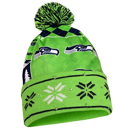 遅れステージペンダントNFL Seattle Seahawks Busy Block Printed Light Up Beanie, One Size, Green