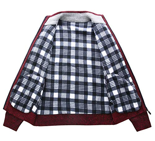 Vcansion Men s Classic Long Sleeve Full Zip Warm Knitted Wool Cardigan  Sweaters Wine Red XL 80a646383