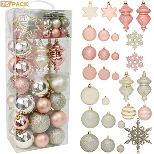 RN'D Christmas Snowflake Ball Ornaments - Christmas Hanging Snowflake and Ball Ornament Assortment Set with Hooks - 76 Ornaments and Hooks (Yellow & Rose Gold) (Shatterproof Ornaments Christmas Tree)