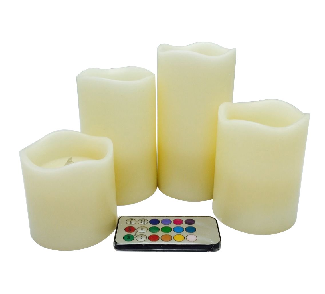 Ivory Flameless Candles with Timer Set of 4, Real Wax Vanilla Scented Battery Candles-H3'',4'',5'',6'' for Home Decor Wedding Parties