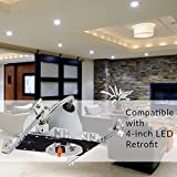"Sunco Lighting 6 Pack 4"" New Construction LED Can Air Tight IC Housing LED Recessed Lighting"