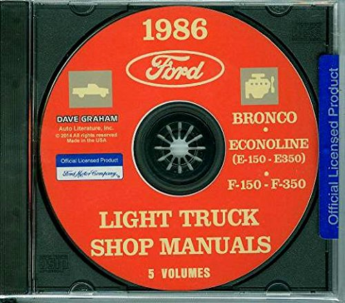 FORD 1986 Bronco, Econoline E150-E350 & F150-F350 Pick Up Truck Shop Manual CD