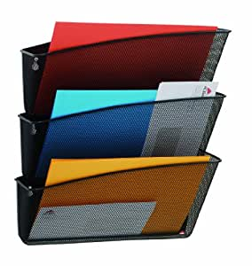 Alba MESHFILE N - Juego de bandejas murales para documentos (3 unidades, metal), color negro