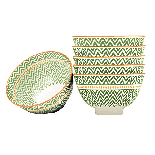 6-Piece Porcelain Soup/Cereal Bowl Set for Gifts, Party, 5.6 Inch- Green