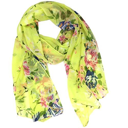 Fashionable Floral Print Soft Chiffon Scarf - Green (Scarf Floral Soft)