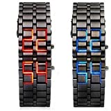 Sportsy Volcanic Lava Style Iron Fashion Bracelet Digital Samurai Metal Stainless Steel Led Wrist Watch Blue Red Light