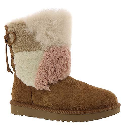 UGG Womens Classic Short Patchwork Fluff Boot, Chestnut, Size ()