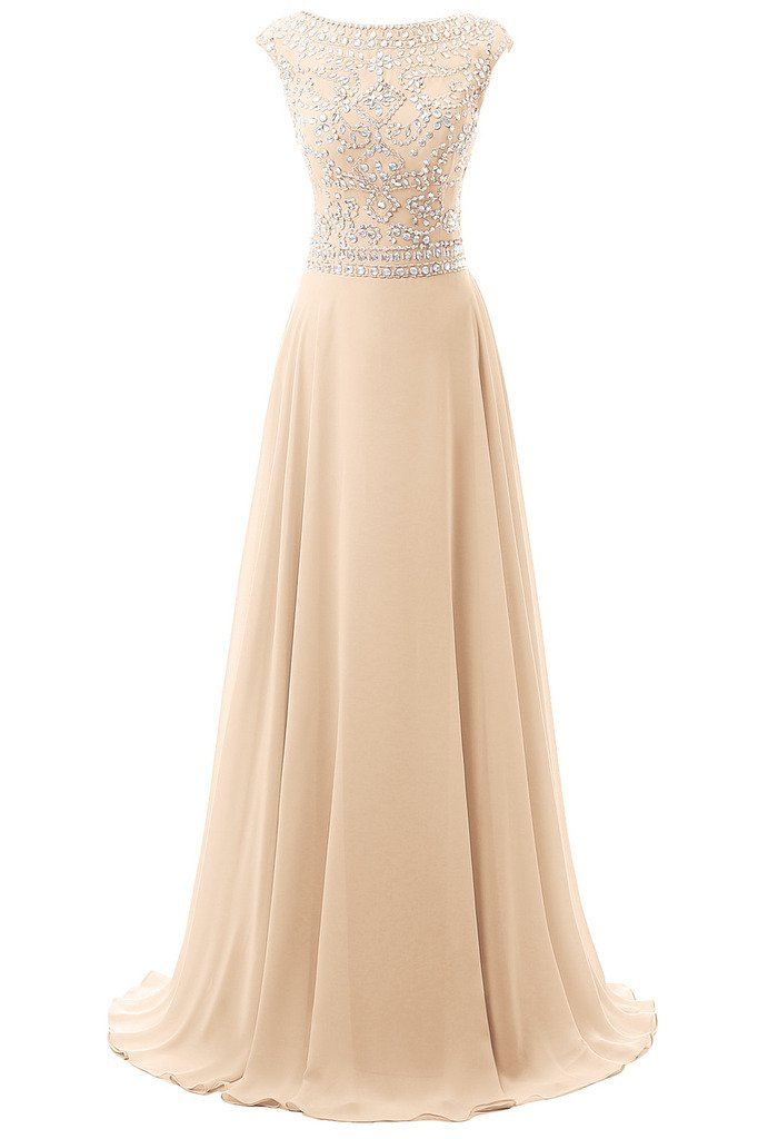 Dresstore Women's Long Chiffon Bridesmaid Dress Cap Sleeves Beaded Prom Eveing Gown Champagne US 18Plus