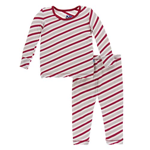 Candy Cane Set - Kickee Pants Print Long Sleeve Pajama Set - Rose Gold Candy Cane Stripe (18-24M)
