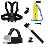 TEKCAM 4 in 1 Accessories for 1080p Waterproof Action Camera Included Selfie Stick+Chest Mount+Head Strap+Floating Mount