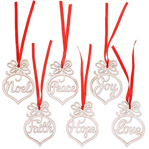 Cosmos Set of 6 Christmas Tree Hanging Decoration DIY Wooden Xmas Tree Hanging Tags Art Craft Ornaments Pendant
