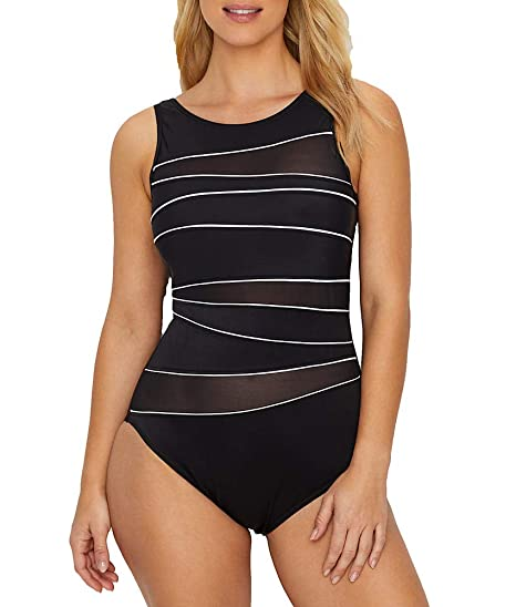 5b04d6342cb57 Miraclesuit 6517317 Women's Prismatix Somerset Black and White Shaping  Swimsuit 12