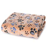 """Allisandro Super Soft and Fluffy Premium Flannel Fleece(39""""X31"""") Dog Throw Blanket,Appealing and Cute Paw Prints Equally for Puppy Cat"""