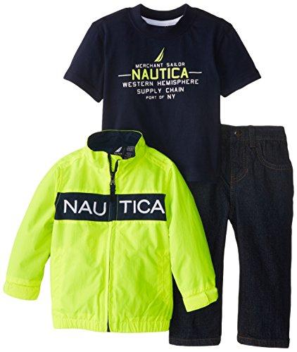 Nautica Baby-Boys Infant 3 Piece Zip Jacket Outerwear Set, Neon Yellow, 18 Months