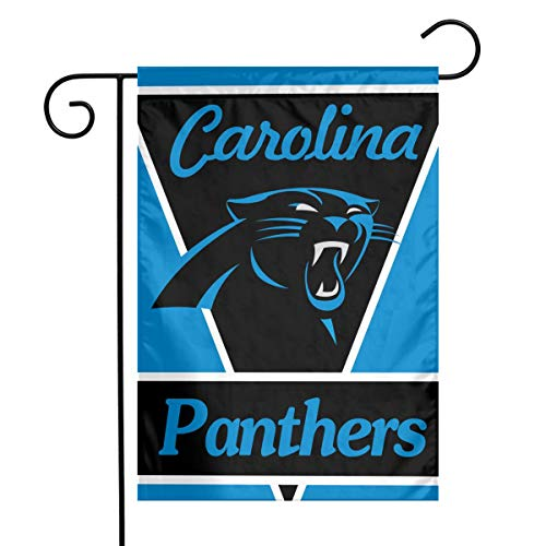 Sorcerer Design Colorful Garden Flag American Football Team Carolina Panthers Outdoor House Yard Flag Polyester Indoor Banner for Wedding Party Decor 12 x 18 -
