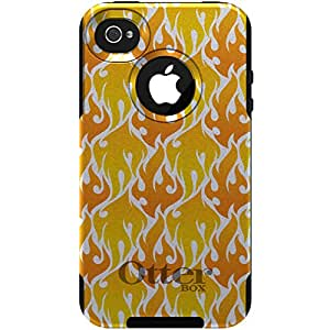 CUSTOM OtterBox Commuter Series Case for iPhone 4 or 4S - Orange, Yellow & White Fire Flame Pattern