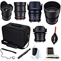 ROKINON CINE DS Full Lens Kit – 14mm + 24mm + 35mm + 50mm + 85mm for Canon EF plus Case and Accessory Bundle