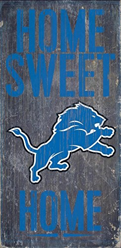 Detroit Lions Official NFL 14.5 inch x 9.5 inch Wood Sign Home Sweet Home by Fan Creations (Detroit Lions Figurine)