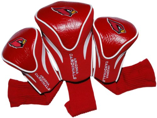 Team Golf NFL Arizona Cardinals Contour Golf Club Headcovers (3 Count), Numbered 1, 3, & X, Fits Oversized Drivers, Utility, Rescue & Fairway Clubs, Velour lined for Extra Club ()