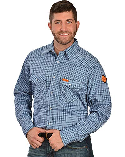 Wrangler Men's Flame Resistant Western Two Pocket Snap Shirt, Blue Plaid, S