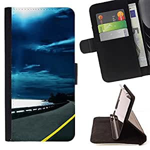 DEVIL CASE - FOR HTC Desire 820 - Moonlight Ocean Highway Road Drive - Style PU Leather Case Wallet Flip Stand Flap Closure Cover