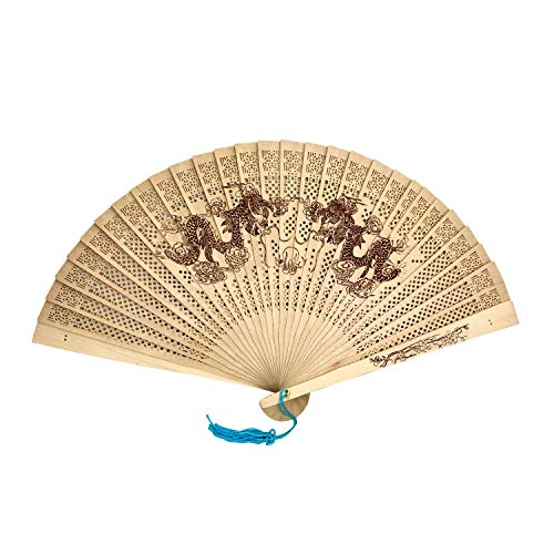 SPG Sandalwood Scented Wooden Folding Fan Hand-Crafted Japanese/Chinese