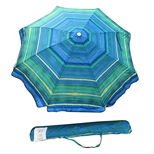 Abba Patio 7 Feet Beach Umbrella with Sand Anchor, Push Button Tilt and Carry Bag, Adjustable Height Fiberglass Rib Patio Umbrella, Striped Color