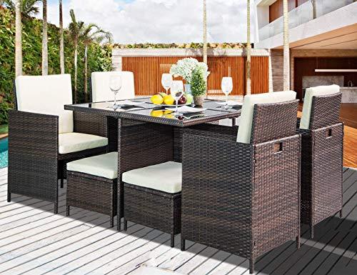 LZ LEISURE ZONE 9 Piece Patio Furniture Dining Set Outdoor