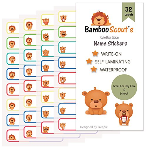 Baby Bottle Labels for Daycare,School, Waterproof Write-On, Self-laminating Name Stickers Labels Tags Multiple Colors(Bear & Lion) ()