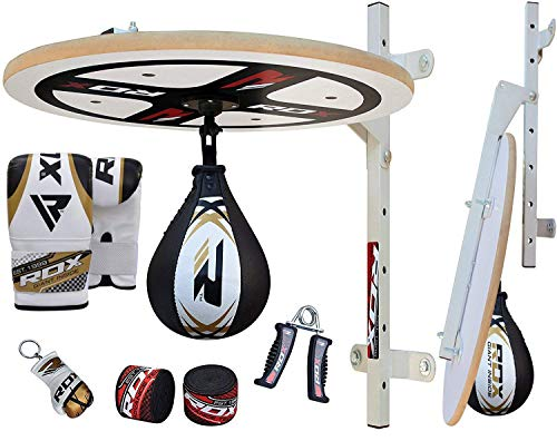 RDX 10PC Boxing Speed Ball Heavy Platform MMA Maya Hide Leather Punching Bag Stand Workout Training