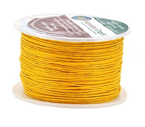 (Mandala Crafts 1mm 109 Yards Jewelry Making Beading Crafting Macramé Waxed Cotton Cord Thread (Mustard Yellow))