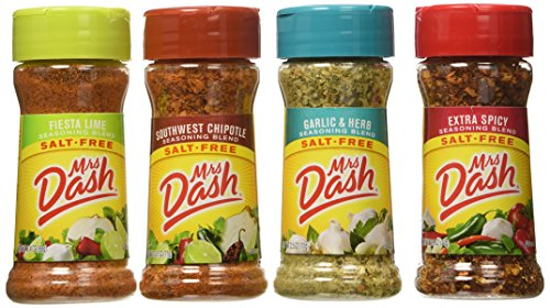Mrs. Dash Extra Spicy(2.5oz), Southwest Chipotle(2.5oz), Garlic & Herb (2.5oz) and Fiesta Lime (2.4oz) Salt-Free Seasoning ()