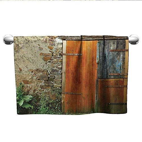 alisoso Shutters,Sweat Towel Old Fashion Country House French Entrance Stone Wall Farmhouse Picture Print Absorbent and Super Soft Towels Orange Green W 14