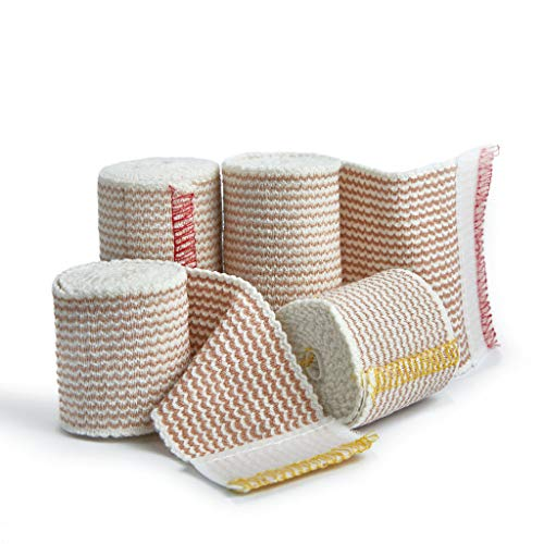 Premium Elastic Bandage Wrap Compression Roll, Includes Hook and Loop Closure, Set of 4 Pack FDA Approved, Two Rolls of Each Size 2 Inch x 4.6 Meter & 3 Inch x 4.6 Metre Polyester Cotton.