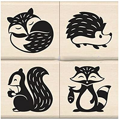 """{Single Count} Unique & Custom (1.5"""" Inches) """"Cute Happy Woodland Forest Critters Scene"""" Square Shaped Genuine Wood Mounted Rubber Inking Stamp [Small Size]"""