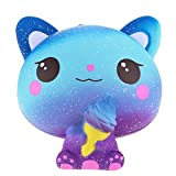 ZERMDIEY1 Ice Cream Cat Squishy Jumbo Super Slow Rising Squeeze Stress Relief Squishies Scented Squishys Kids Toys (Galaxy Blue)