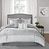 Madison Park Bennett 7 Piece Comforter Set, Grey, Queen