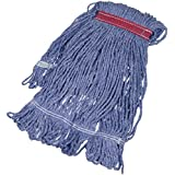 AmazonBasics Loop-End Synthetic Mop Head, 1.25-Inch Headband, Small, Blue - 6-Pack