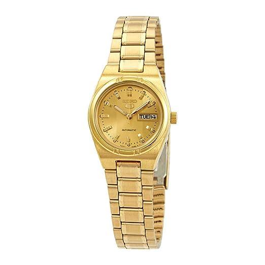 Seiko SYM600 Serie 5 - Reloj automático para mujer, esfera dorada: Amazon.es: Relojes
