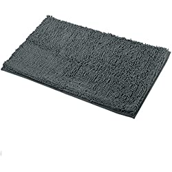 "Mayshine Non-Slip Bathroom Rugs and Door Mat Mud Dirt Trapper Mats(39""x24"") Machine-Washable Absorbent Water Microfibers - Dark Gray"