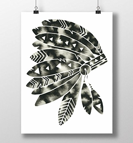 Modern native american headdress art print black and white minimalist artwork