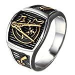 OAKKY Men s Vintage Masonic Freemason Stainless Steel Ring Symbol Signet Band Silver Gold Size 13