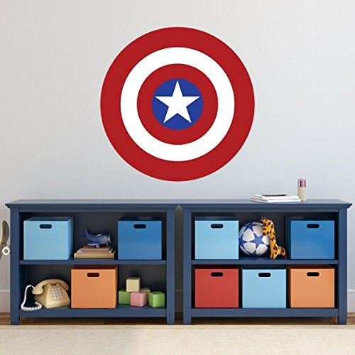 - Captain America Shield Vinyl Wall Decal - Superhero Icon, Emblem, Symbol, or Logo from Marvel Comics for Kids Boys Rooms