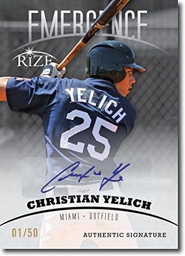 Autograph Card (CHRISTIAN YELICH 2012 Rize Rookie Autograph BLACK Auto EMERGENCE RC #/50)