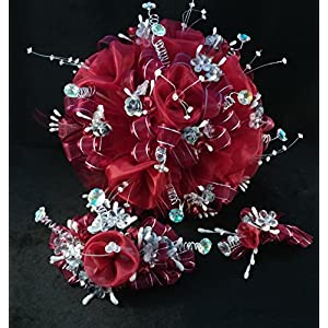 15th Quinceañera Burgundy & Silver Flower Bouquet Set And Corsage, Ramo Para Quinceañera. 97