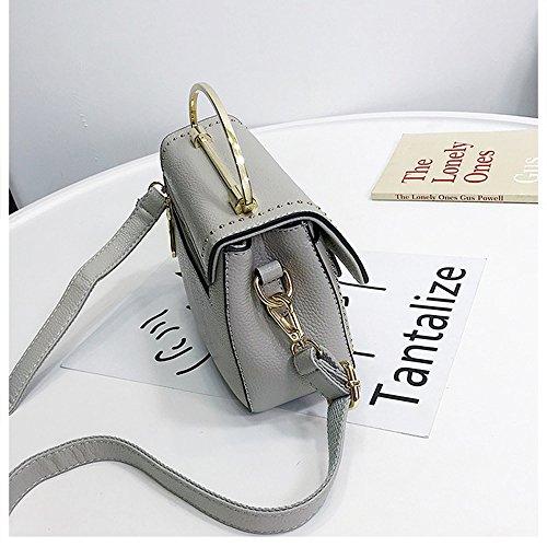 Grey messenger tracolla portatile a Square Fashion piccolo MIMI Trend tracolla borse Nero per Lock a KING donne txHTnqwa