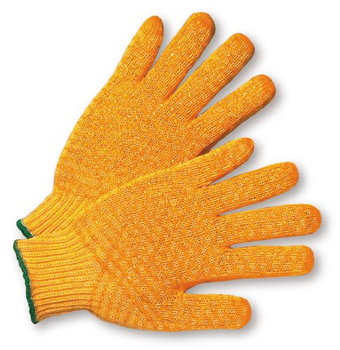 West Chester 708SKH/S Gold Honeycomb PVC Grip String Knit Gloves, Small, Orange (Pack of (Standard Knit Glove)