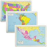 Painless Learning Educational Placemats Sets USA South America and Mexico Central America Maps Non Slip Washable